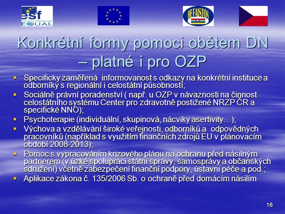 16 Konkrétní formy pomoci obětem DN – platné i pro OZP  Specificky zaměřená informovanost s odkazy na konkrétní instituce a odborníky s regionální i