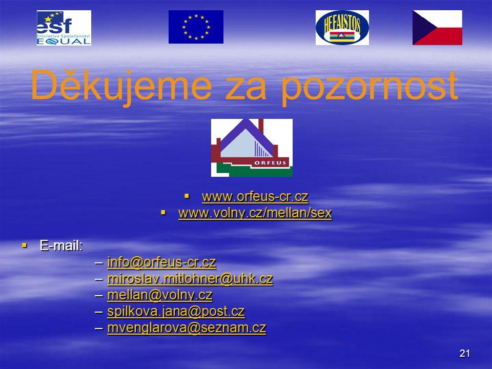 21  www.orfeus-cr.cz www.orfeus-cr.cz  www.volny.cz/mellan/sex www.volny.cz/mellan/sex  E-mail: –info@orfeus-cr.cz info@orfeus-cr.cz –miroslav.mitl
