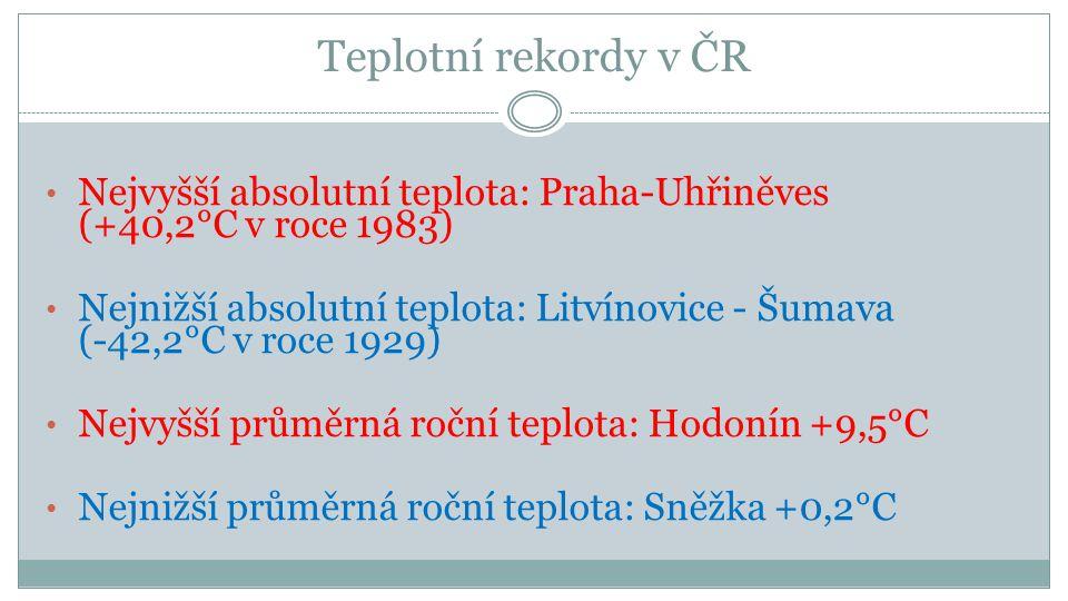 Teplotní rekordy v ČR Nejvyšší absolutní teplota: Praha-Uhřiněves (+40,2°C v roce 1983) Nejnižší absolutní teplota: Litvínovice - Šumava (-42,2°C v ro