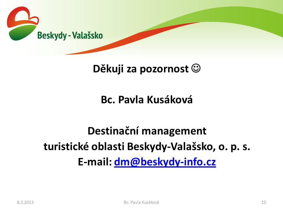 8.3.2013Bc.Pavla Kusáková15 Děkuji za pozornost Bc.