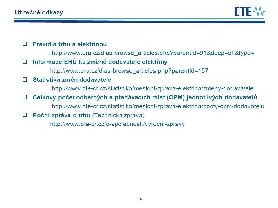 4 Užitečné odkazy  Pravidla trhu s elektřinou http://www.eru.cz/dias-browse_articles.php parentId=91&deep=off&type=  Informace ERÚ ke změně dodavatele elektřiny http://www.eru.cz/dias-browse_articles.php parentId=157  Statistika změn dodavatele http://www.ote-cr.cz/statistika/mesicni-zprava-elektrina/zmeny-dodavatele  Celkový počet odběrných a předávacích míst (OPM) jednotlivých dodavatelů http://www.ote-cr.cz/statistika/mesicni-zprava-elektrina/pocty-opm-dodavatelu  Roční zpráva o trhu (Technická zpráva) http://www.ote-cr.cz/o-spolecnosti/vyrocni-zpravy