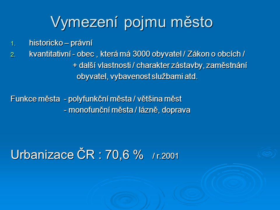 Sídelní struktura ČR Města Feudální společnost - rozvoj ve 13. a 14. stol. - funkce / řemeslnicko – obchodní, vojenská, těžba surovin, - funkce / řeme