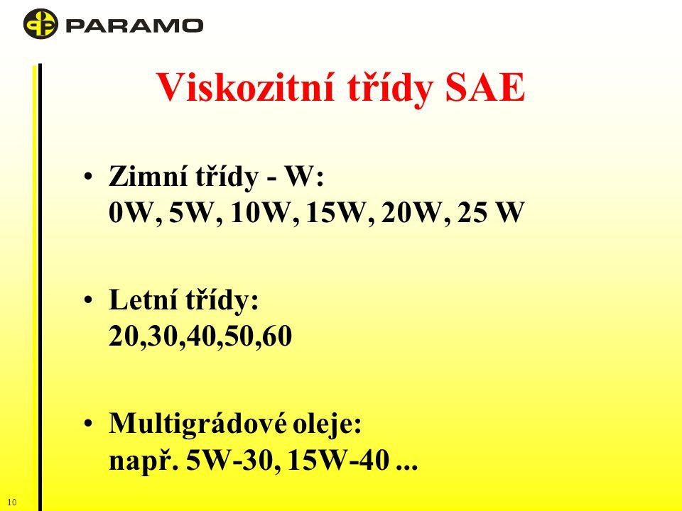 10 Viskozitní třídy SAE Zimní třídy - W: 0W, 5W, 10W, 15W, 20W, 25 W Letní třídy: 20,30,40,50,60 Multigrádové oleje: např.