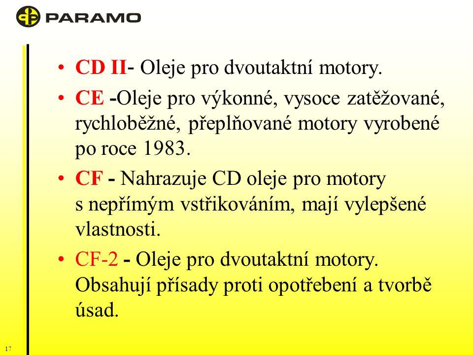 16 Naftové motory: Označení písmenem C a dalším písmenem abecedyX, počínaje A. Čím vyšší X, tím vyšší kvalita oleje. CA-CB - motorové oleje pro motory