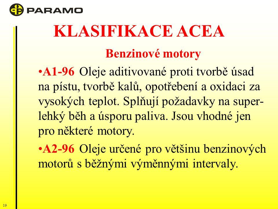 19 KLASIFIKACE ACEA Benzinové motory A1-96Oleje aditivované proti tvorbě úsad na pístu, tvorbě kalů, opotřebení a oxidaci za vysokých teplot.