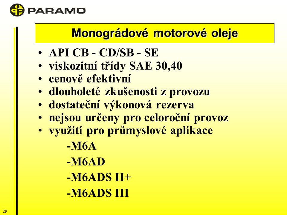 29 Monográdové motorové oleje API CB - CD/SB - SE viskozitní třídy SAE 30,40 cenově efektivní dlouholeté zkušenosti z provozu dostateční výkonová rezerva nejsou určeny pro celoroční provoz využití pro průmyslové aplikace -M6A -M6AD -M6ADS II+ -M6ADS III