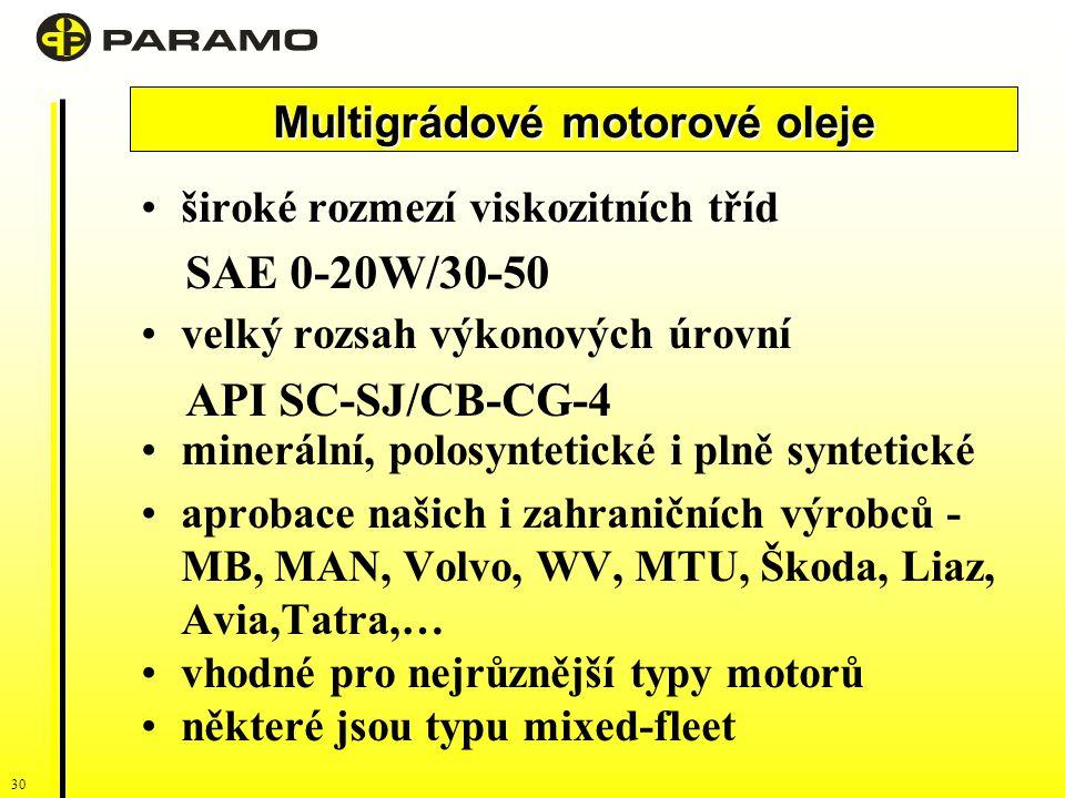 30 široké rozmezí viskozitních tříd SAE 0-20W/30-50 velký rozsah výkonových úrovní API SC-SJ/CB-CG-4 minerální, polosyntetické i plně syntetické aprobace našich i zahraničních výrobců - MB, MAN, Volvo, WV, MTU, Škoda, Liaz, Avia,Tatra,… vhodné pro nejrůznější typy motorů některé jsou typu mixed-fleet Multigrádové motorové oleje