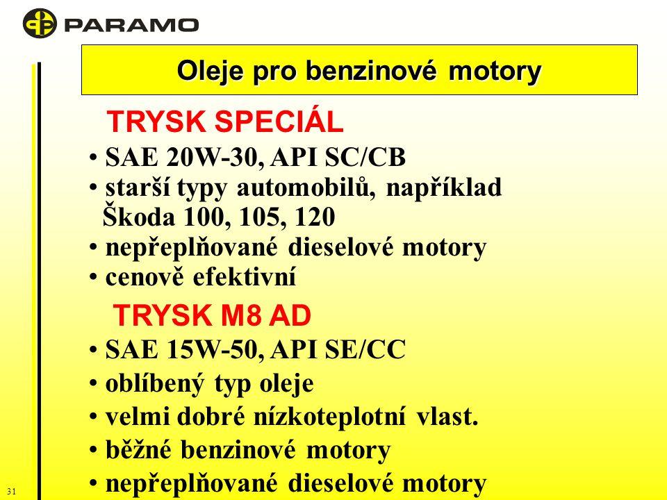 31 Oleje pro benzinové motory TRYSK SPECIÁL SAE 20W-30, API SC/CB starší typy automobilů, například Škoda 100, 105, 120 nepřeplňované dieselové motory cenově efektivní TRYSK M8 AD SAE 15W-50, API SE/CC oblíbený typ oleje velmi dobré nízkoteplotní vlast.