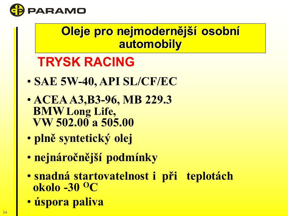 34 Oleje pro nejmodernější osobní automobily TRYSK RACING SAE 5W-40, API SL/CF/EC ACEA A3,B3-96, MB 229.3 BMW Long Life, VW 502.00 a 505.00 plně syntetický olej nejnáročnější podmínky snadná startovatelnost i při teplotách okolo -30 O C úspora paliva