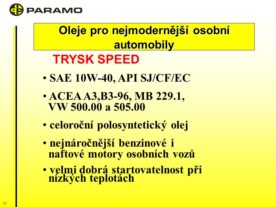 35 TRYSK SPEED SAE 10W-40, API SJ/CF/EC ACEA A3,B3-96, MB 229.1, VW 500.00 a 505.00 celoroční polosyntetický olej nejnáročnější benzinové i naftové motory osobních vozů velmi dobrá startovatelnost při nízkých teplotách Oleje pro nejmodernější osobní automobily