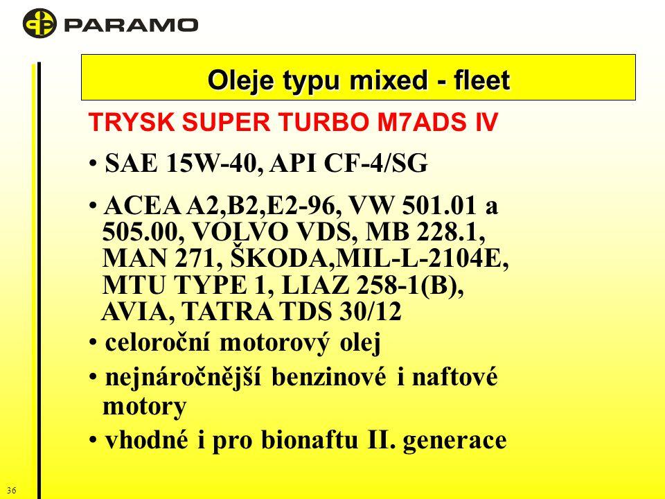 36 Oleje typu mixed - fleet TRYSK SUPER TURBO M7ADS IV SAE 15W-40, API CF-4/SG ACEA A2,B2,E2-96, VW 501.01 a 505.00, VOLVO VDS, MB 228.1, MAN 271, ŠKODA,MIL-L-2104E, MTU TYPE 1, LIAZ 258-1(B), AVIA, TATRA TDS 30/12 celoroční motorový olej nejnáročnější benzinové i naftové motory vhodné i pro bionaftu II.