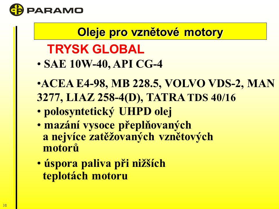 38 Oleje pro vznětové motory TRYSK GLOBAL SAE 10W-40, API CG-4 ACEA E4-98, MB 228.5, VOLVO VDS-2, MAN 3277, LIAZ 258-4(D), TATRA TDS 40/16 polosyntetický UHPD olej mazání vysoce přeplňovaných a nejvíce zatěžovaných vznětových motorů úspora paliva při nižších teplotách motoru