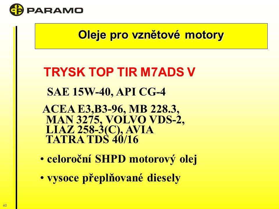 40 Oleje pro vznětové motory TRYSK TOP TIR M7ADS V SAE 15W-40, API CG-4 ACEA E3,B3-96, MB 228.3, MAN 3275, VOLVO VDS-2, LIAZ 258-3(C), AVIA TATRA TDS 40/16 celoroční SHPD motorový olej vysoce přeplňované diesely