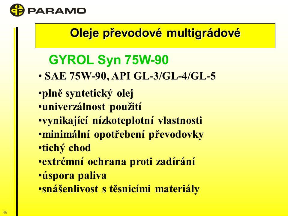 46 Oleje převodové multigrádové GYROL Syn 75W-90 SAE 75W-90, API GL-3/GL-4/GL-5 plně syntetický olej univerzálnost použití vynikající nízkoteplotní vlastnosti minimální opotřebení převodovky tichý chod extrémní ochrana proti zadírání úspora paliva snášenlivost s těsnicími materiály