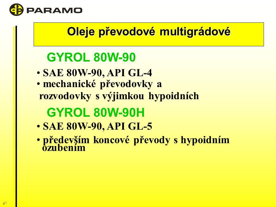 47 Oleje převodové multigrádové GYROL 80W-90 SAE 80W-90, API GL-4 mechanické převodovky a rozvodovky s výjimkou hypoidních GYROL 80W-90H SAE 80W-90, API GL-5 především koncové převody s hypoidním ozubením
