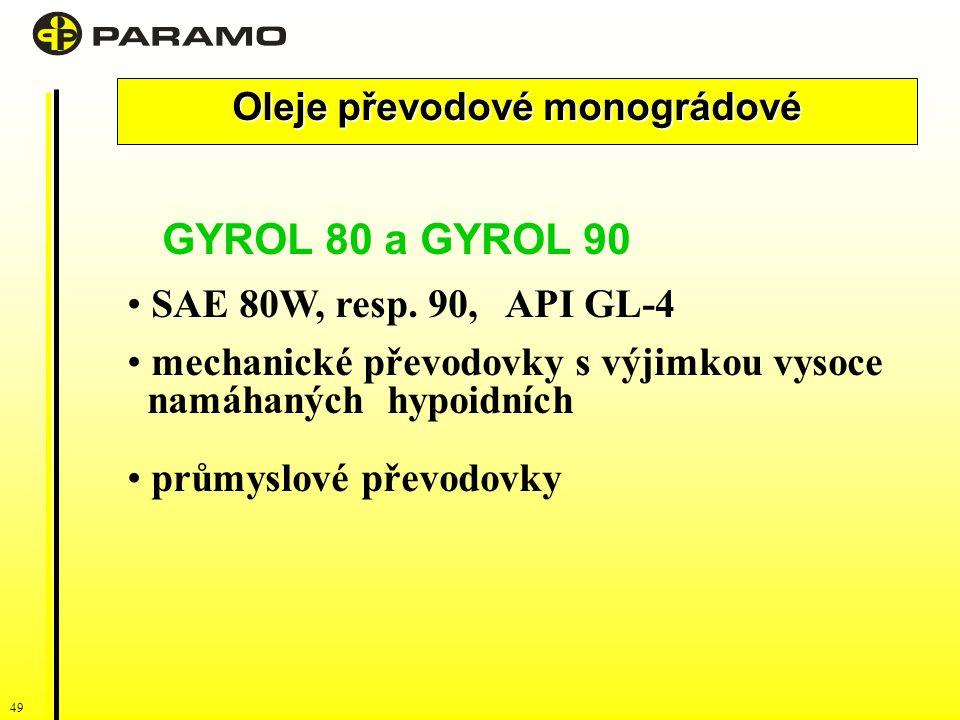 49 Oleje převodové monográdové GYROL 80 a GYROL 90 SAE 80W, resp.