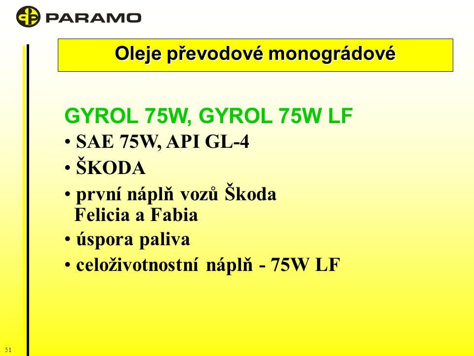 51 Oleje převodové monográdové GYROL 75W, GYROL 75W LF SAE 75W, API GL-4 ŠKODA první náplň vozů Škoda Felicia a Fabia úspora paliva celoživotnostní náplň - 75W LF