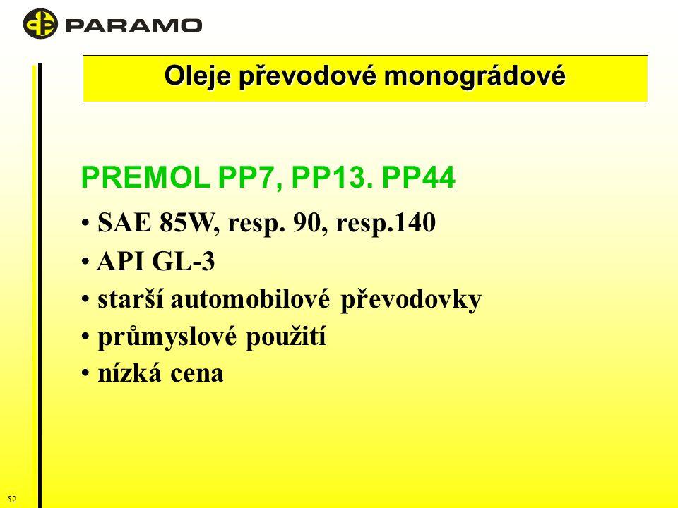 52 Oleje převodové monográdové PREMOL PP7, PP13.PP44 SAE 85W, resp.