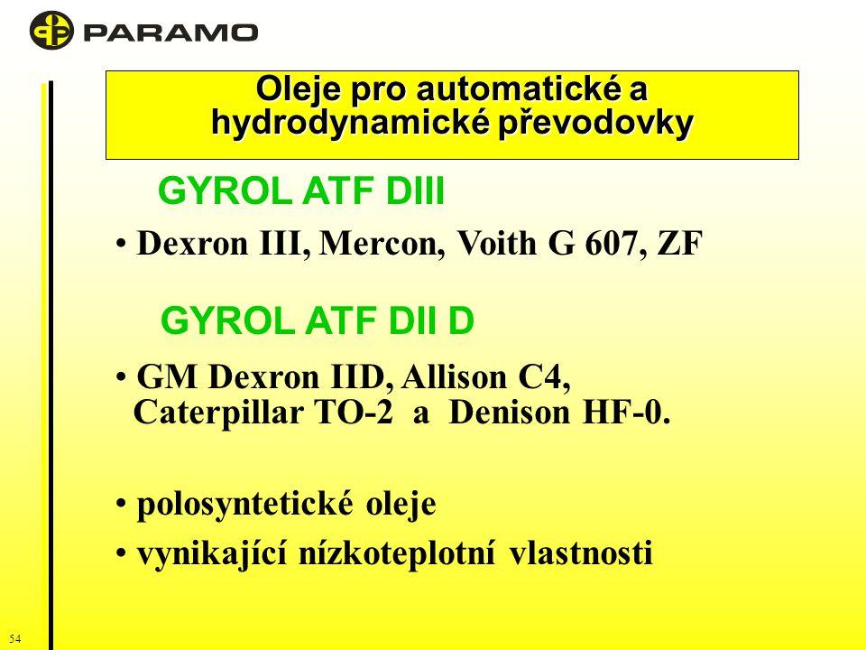 54 Oleje pro automatické a hydrodynamické převodovky GYROL ATF DIII Dexron III, Mercon, Voith G 607, ZF GYROL ATF DII D GM Dexron IID, Allison C4, Caterpillar TO-2 a Denison HF-0.