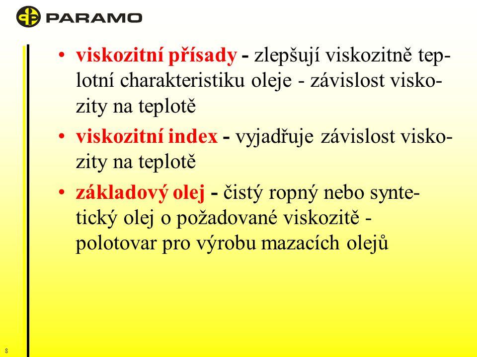 8 viskozitní přísady - zlepšují viskozitně tep- lotní charakteristiku oleje - závislost visko- zity na teplotě viskozitní index - vyjadřuje závislost visko- zity na teplotě základový olej - čistý ropný nebo synte- tický olej o požadované viskozitě - polotovar pro výrobu mazacích olejů