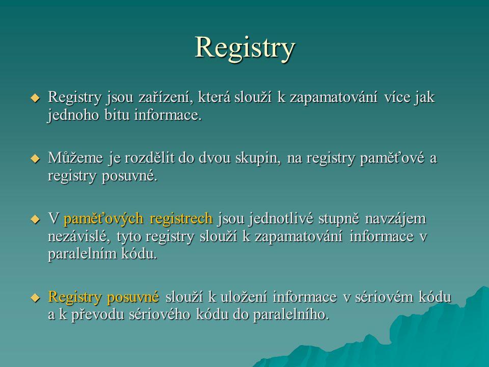 Registry  Registry jsou zařízení, která slouží k zapamatování více jak jednoho bitu informace.  Můžeme je rozdělit do dvou skupin, na registry paměť