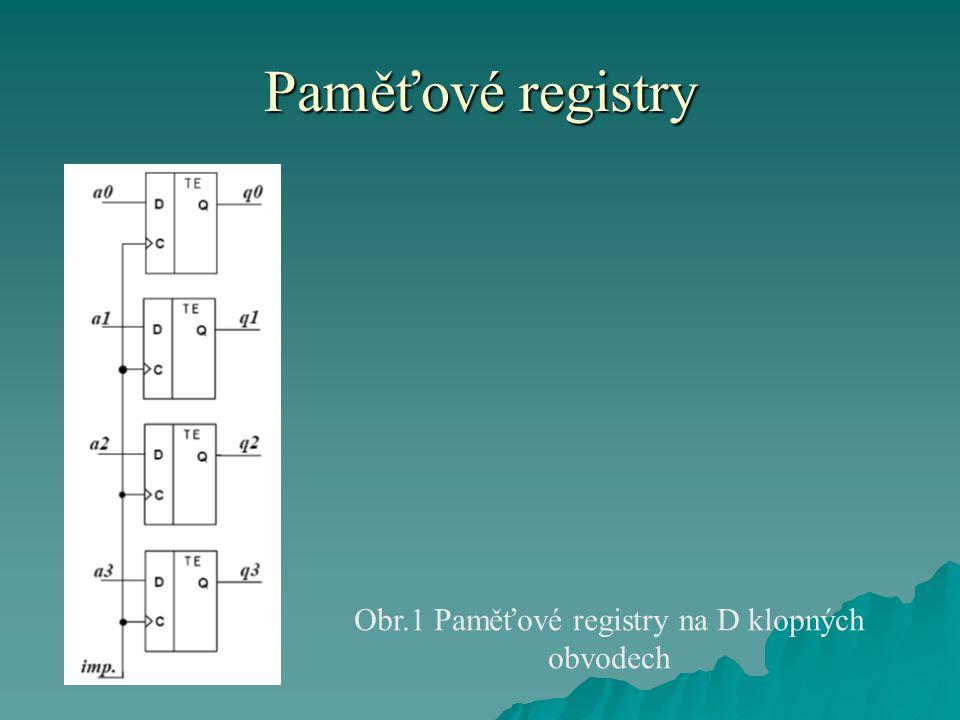 Paměťové registry Obr.1 Paměťové registry na D klopných obvodech