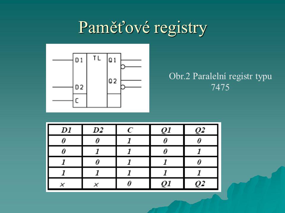 Paměťové registry Obr.2 Paralelní registr typu 7475