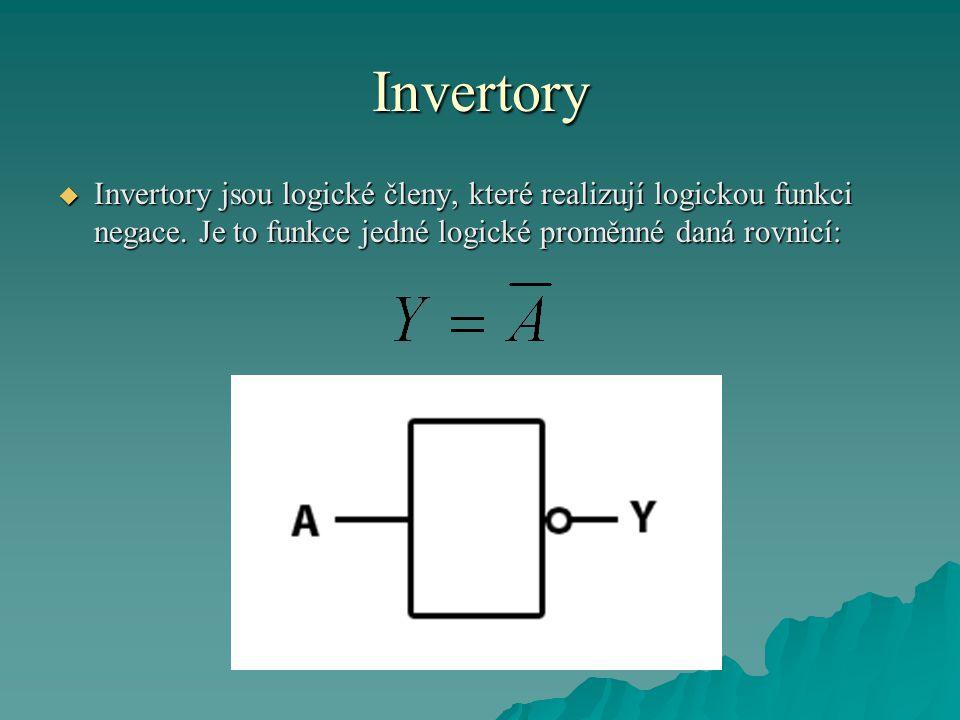 Invertory  Invertory jsou logické členy, které realizují logickou funkci negace. Je to funkce jedné logické proměnné daná rovnicí: