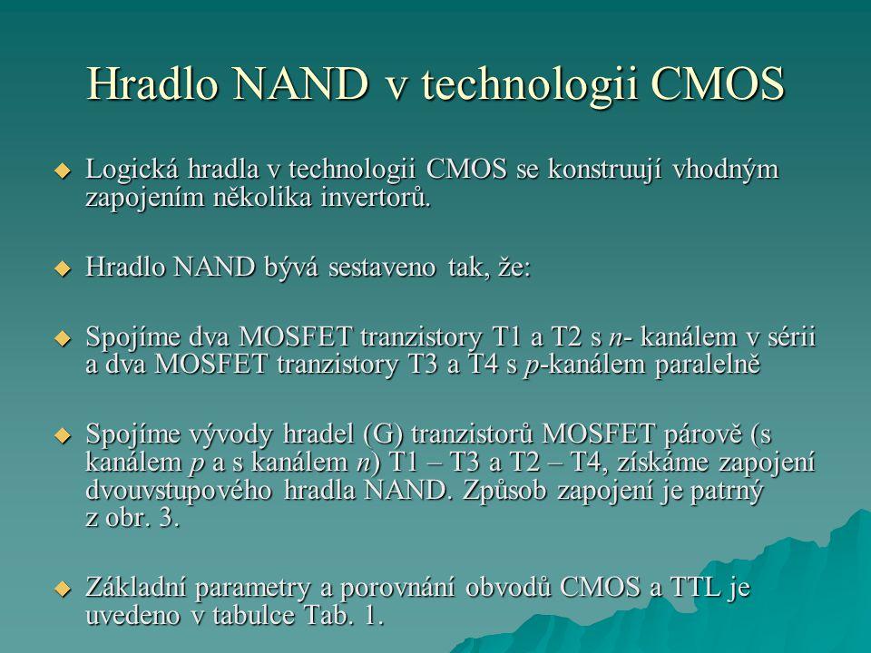 Hradlo NAND v technologii CMOS  Logická hradla v technologii CMOS se konstruují vhodným zapojením několika invertorů.  Hradlo NAND bývá sestaveno ta
