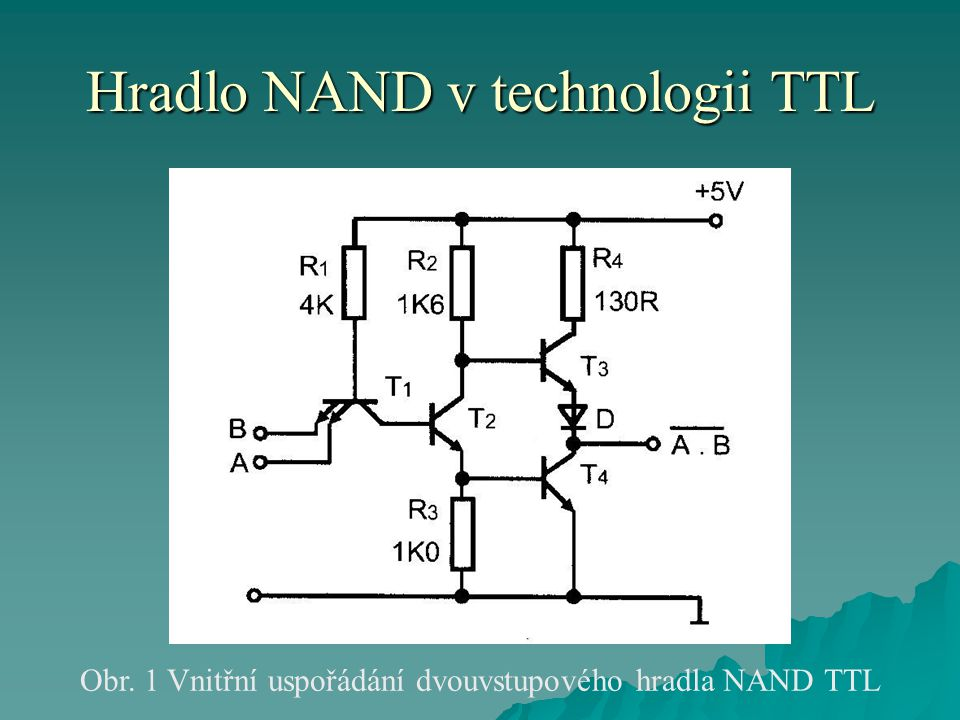 Hradlo NAND v technologii TTL Obr. 1 Vnitřní uspořádání dvouvstupového hradla NAND TTL