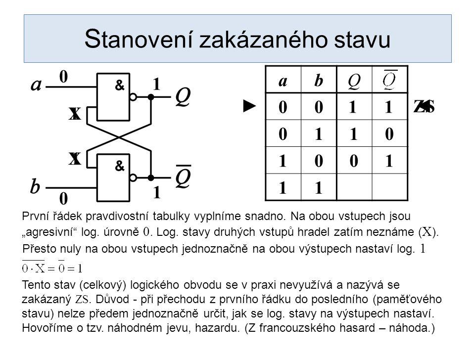 1 S tanovení zakázaného stavu abQ 00 0110 1001 11 První řádek pravdivostní tabulky vyplníme snadno.