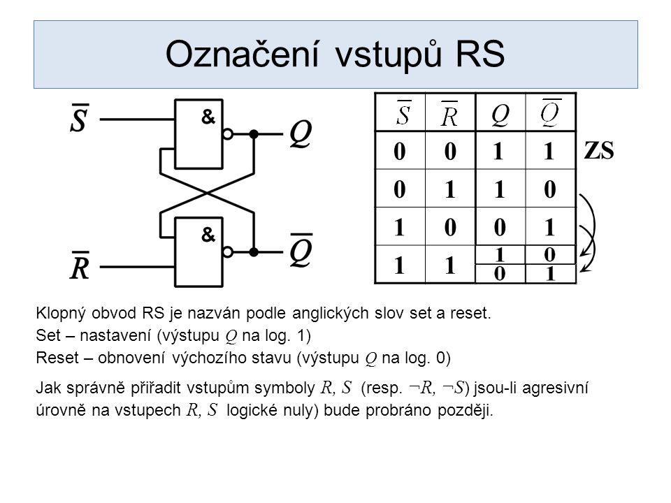 Označení vstupů RS Q 00 0110 1001 11 11 ZS Klopný obvod RS je nazván podle anglických slov set a reset.