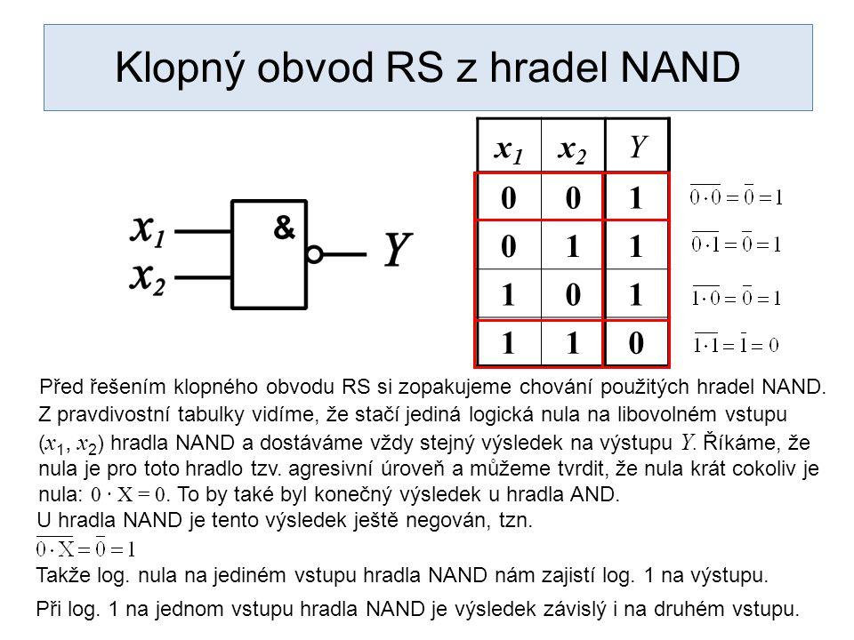 Klopný obvod RS z hradel NAND x1x1 x2x2 Y 001 011 101 110 Před řešením klopného obvodu RS si zopakujeme chování použitých hradel NAND.