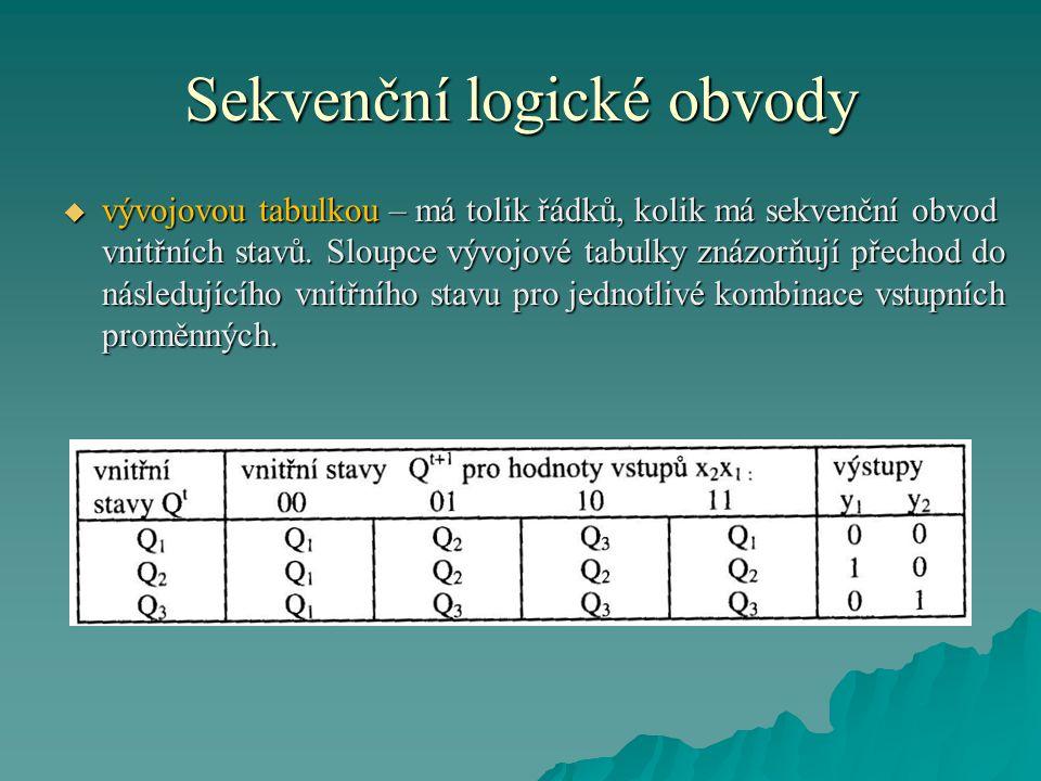 Sekvenční logické obvody  vývojovou tabulkou – má tolik řádků, kolik má sekvenční obvod vnitřních stavů.
