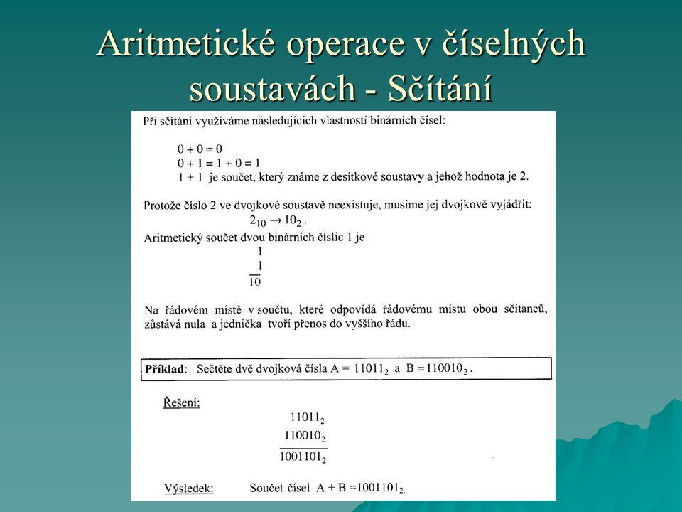 Aritmetické operace v číselných soustavách - Sčítání
