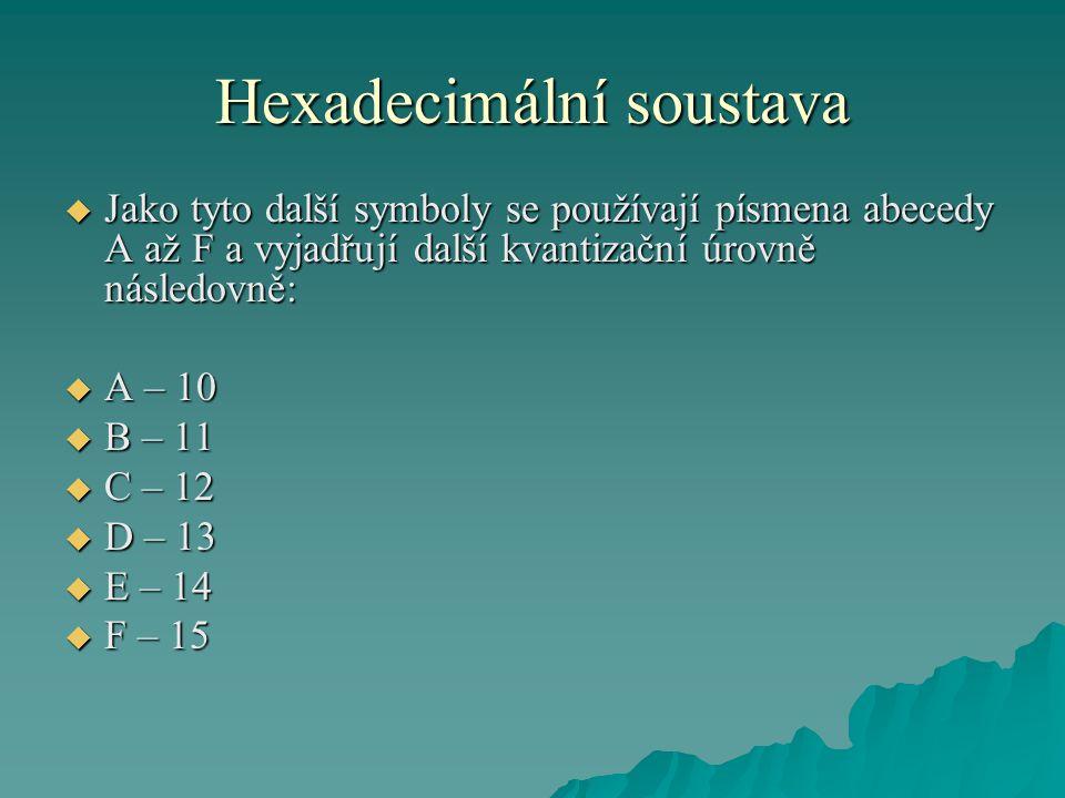 Hexadecimální soustava  Jako tyto další symboly se používají písmena abecedy A až F a vyjadřují další kvantizační úrovně následovně:  A – 10  B – 11  C – 12  D – 13  E – 14  F – 15