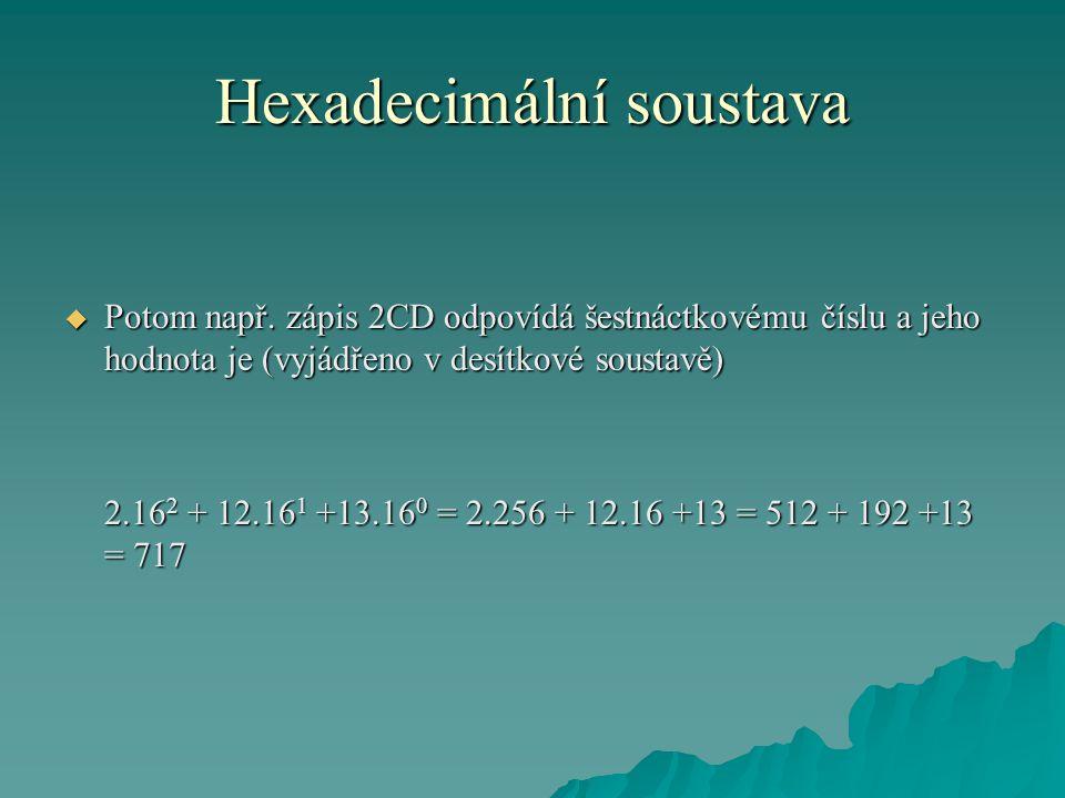 Hexadecimální soustava  Šetnáctková soustava se také nazývá soustava hexadecimální.