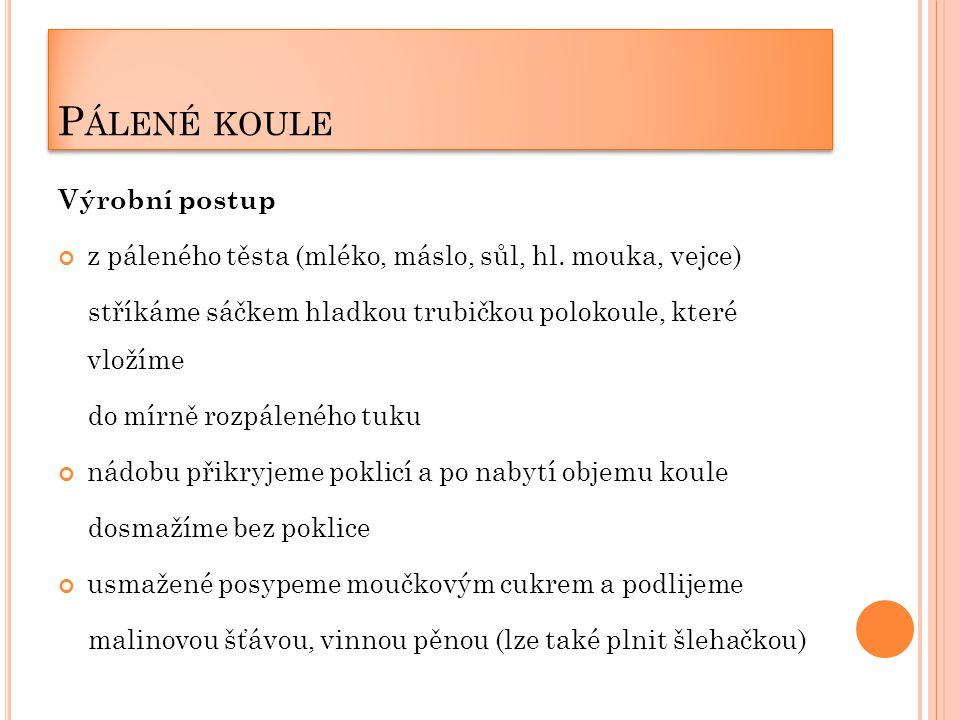P ÁLENÉ KOULE Výrobní postup z páleného těsta (mléko, máslo, sůl, hl.