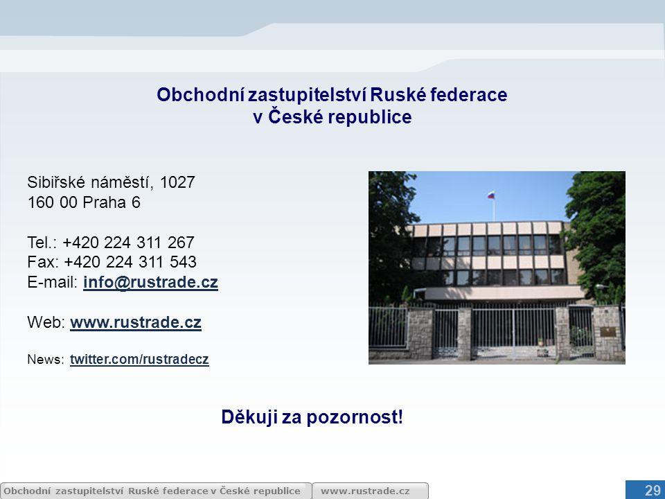 www.rustrade.czObchodní zastupitelství Ruské federace v České republice Obchodní zastupitelství Ruské federace v České republice Sibiřské náměstí, 102