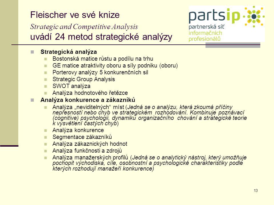 13 Fleischer ve své knize Strategic and Competitive Analysis uvádí 24 metod strategické analýzy Strategická analýza Bostonská matice růstu a podílu na