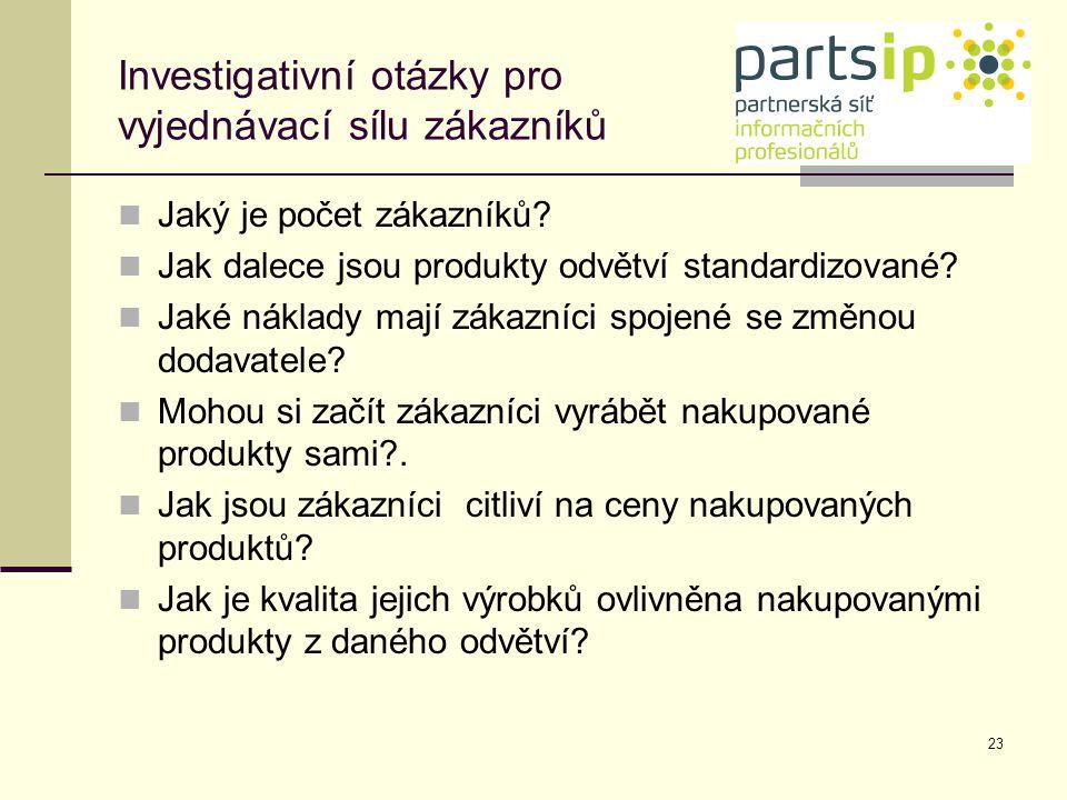 23 Investigativní otázky pro vyjednávací sílu zákazníků Jaký je počet zákazníků? Jak dalece jsou produkty odvětví standardizované? Jaké náklady mají z