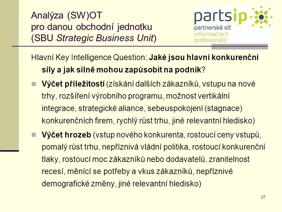 27 Analýza (SW)OT pro danou obchodní jednotku (SBU Strategic Business Unit) Hlavní Key Intelligence Question: Jaké jsou hlavní konkurenční síly a jak