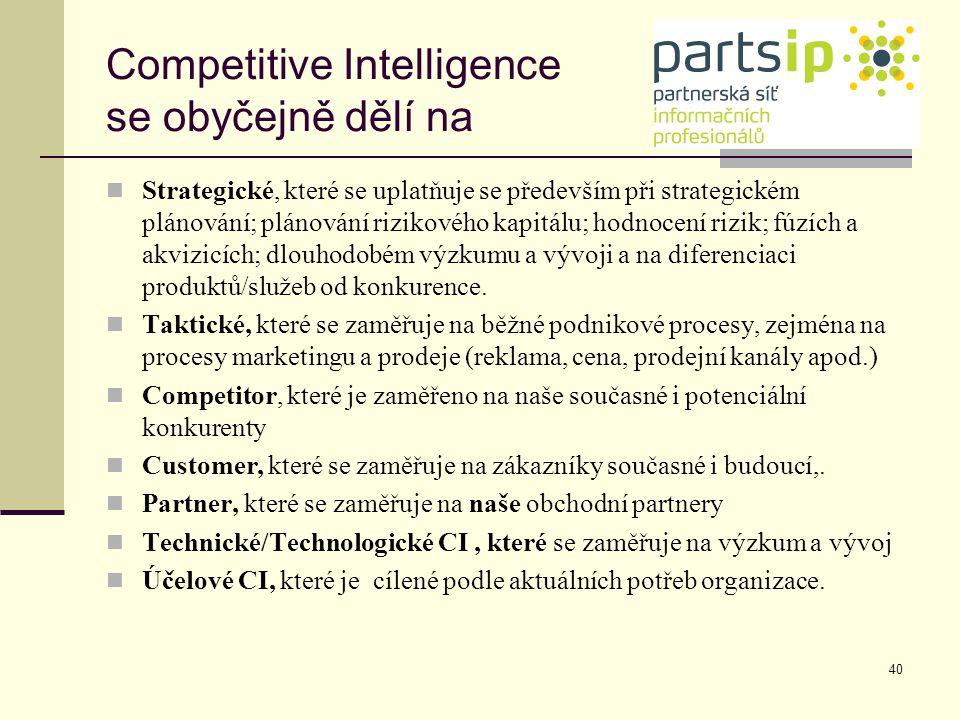 40 Competitive Intelligence se obyčejně dělí na Strategické, které se uplatňuje se především při strategickém plánování; plánování rizikového kapitálu