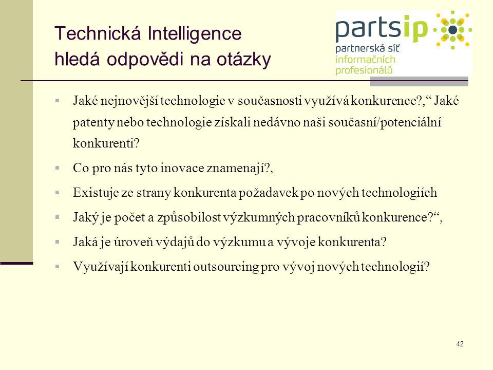 """42 Technická Intelligence hledá odpovědi na otázky  Jaké nejnovější technologie v současnosti využívá konkurence?,"""" Jaké patenty nebo technologie zís"""