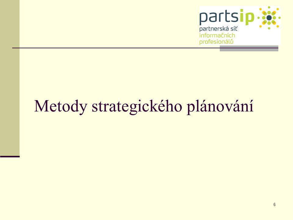 7 Systém informační a znalostní podpory strategického řízení Řízení realizace strategie Strategická analýza a syntéza Metody strategického plánování Externí informační zdroje Interní informační zdroje Metody řízení realizace strategie Řízení znalostí znalosti Báze znalostí Metody řízení znalostí 7