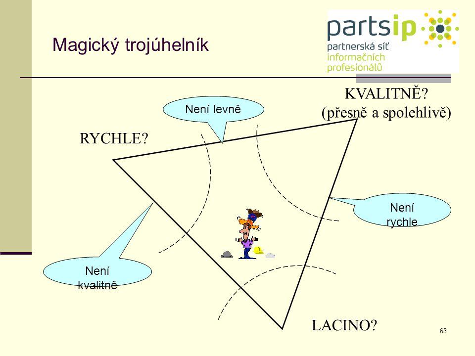 63 RYCHLE? KVALITNĚ? (přesně a spolehlivě) LACINO? Není rychle Není levně Není kvalitně Magický trojúhelník