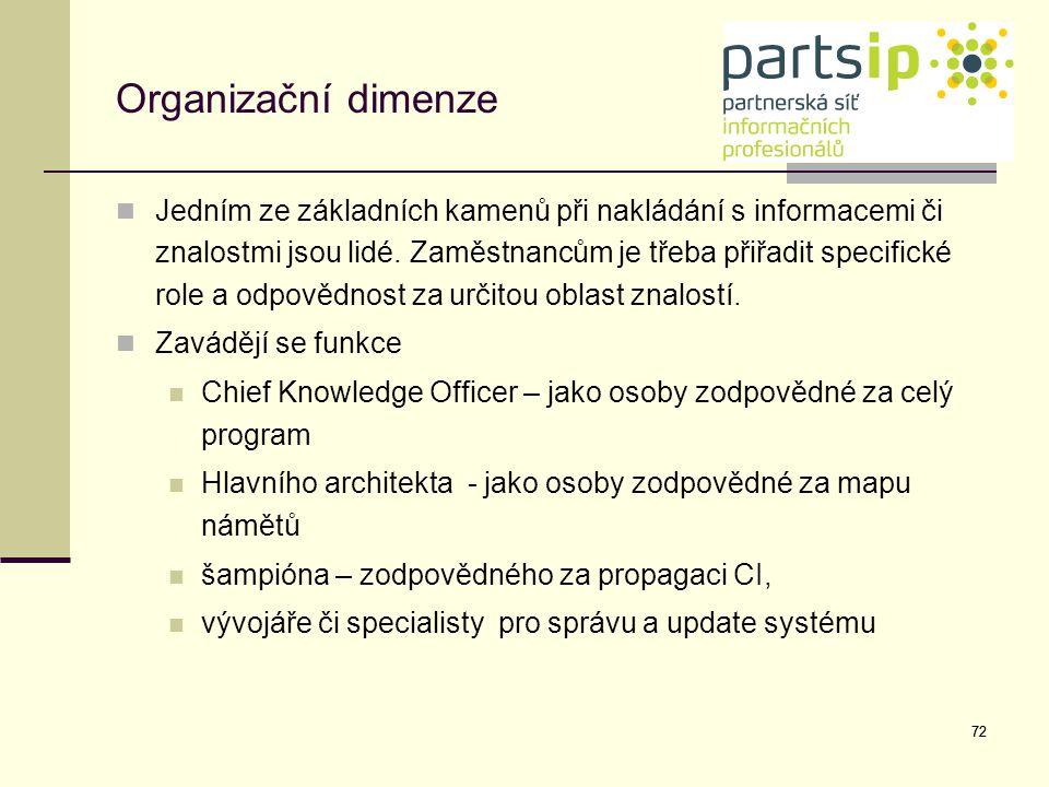 72 Organizační dimenze Jedním ze základních kamenů při nakládání s informacemi či znalostmi jsou lidé. Zaměstnancům je třeba přiřadit specifické role