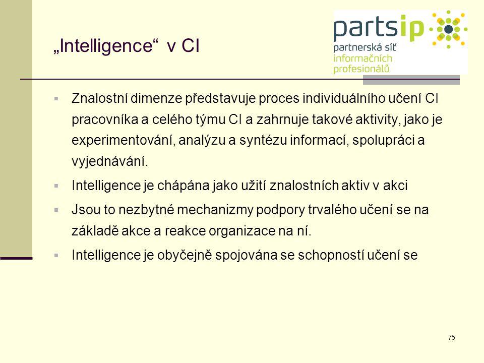 """75 """"Intelligence"""" v CI  Znalostní dimenze představuje proces individuálního učení CI pracovníka a celého týmu CI a zahrnuje takové aktivity, jako je"""