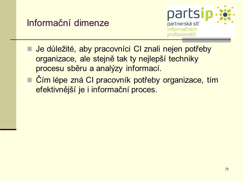 78 Informační dimenze Je důležité, aby pracovníci CI znali nejen potřeby organizace, ale stejně tak ty nejlepší techniky procesu sběru a analýzy infor