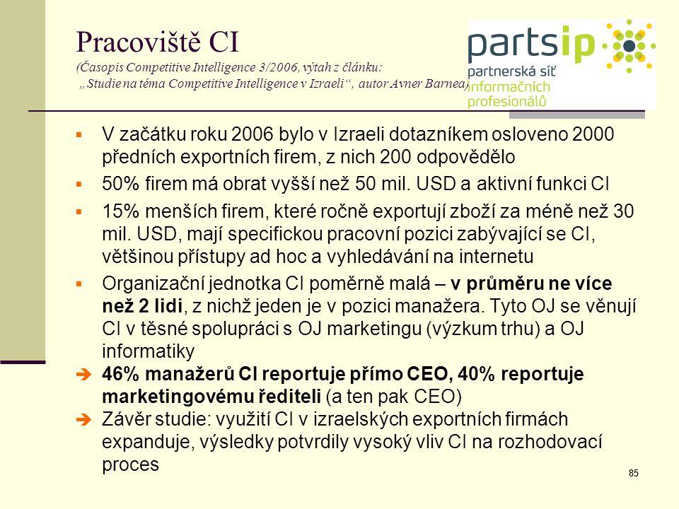 """85 Pracoviště CI (Časopis Competitive Intelligence 3/2006, výtah z článku: """"Studie na téma Competitive Intelligence v Izraeli"""", autor Avner Barnea) """